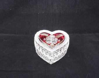 Vintage Hofbauer Lead Cryistal Valentino Trinket Box, Ruby Heart & Rose, Hofbauer Heart Trinket Box, German Collectible Crystal,Bleikristall