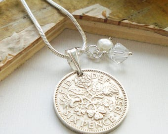 60th Birthday Gift, 1957 Lucky Sixpence Necklace, Gift for Women, 60th Anniversary Diamond, April Birthstone, Birthyear Necklace