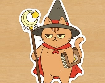 Wizard / Mage / Witch Cat Sticker