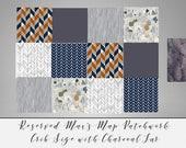 reserved for KIm Navy Grey Baby Blanket Woodland Deer Blanket and Buck Sheet