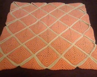Peach & Lime Diamond Squares Baby Blanket