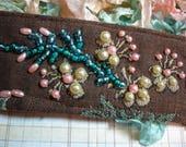 Beaded Fabric Cuff Bracelet - Pearl - Blue - Pink - Flower Design Cuff Bracelet - Hand Beaded fabric cuff