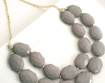 Grey Statement Necklace, Double Stranded Grey Necklace, Chunky Grey Necklace, Grey and Gold Necklace, Chunky Beaded Bridesmaid Necklace