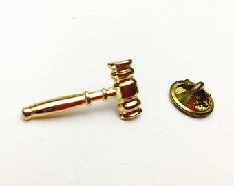 Hammer Lapel/Pin, Masculine Accessory, Vintage  Gold tone, Gifts for Him, Item No. B135