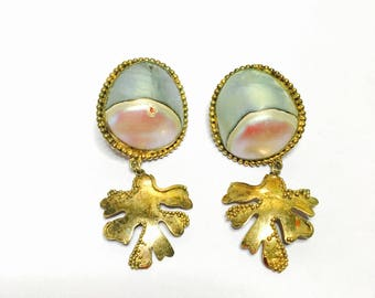 Large vintage mother of Pearl Earrings, gold over silver, Clearance Sale, item no S340