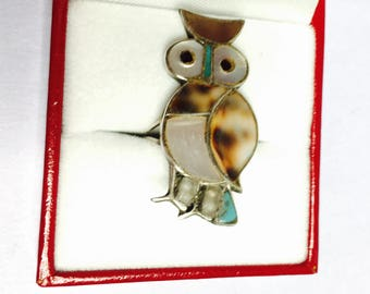 Vintage OWL Ring size 5, Sterling, mother of Pearl & Shell inlay, Native design, Item No. S086