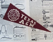 Vintage College Pennant University of Texas A&M Aggies Small 9 x 3 1/2 Inch Felt 1990s School Pennant Flag Dorm Collectible Sports Decor