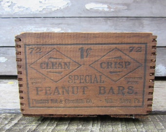 RARE Antique Wood Crate  Special Peanut Bars Wilkes Barre Planters Peanut & Chocolate Company Crate Candy Wood Box Rustic Primitive Vintage