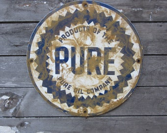 Reproduction Porcelain Metal Sign Pure Oil Company Gas Gasoline Sign Vintage Look Distressed Antique Aged to look Old Rustic Advertising