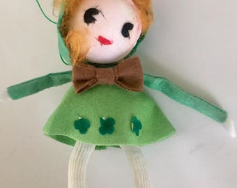 Vintage Mid-Century 1960s St. Patrick's Day Pixie Leprechaun Doll Ornament Made in Japan