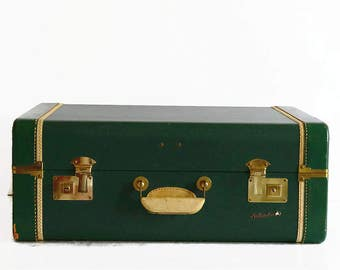 vintage suitcase luggage with key forest green 1940s 1950s travel