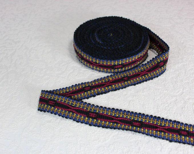 Woven Trim (6 yards), Woven Border, Cotton Ribbon, Grosgrain Ribbon, Dress Border, Border Trim, R189