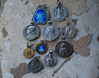 Ten Vintage Patron Saints Medals, Vintage Religious Supplies, St Bernadette, St. Therese, St Rita, Antique Catholic Jewelry, Saint Benedict