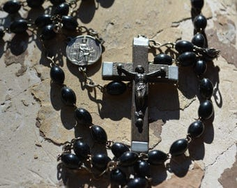 Antique French Mourning Rosary, Collectible Catholic Rosary with Black Beads.