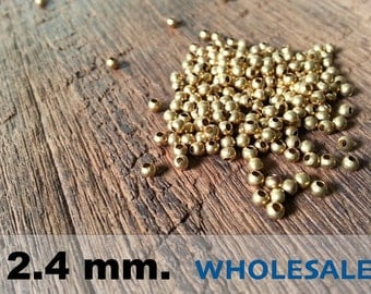 1000 Pcs (2.4mm)  Brass Beads - Round -Brass Spacer-