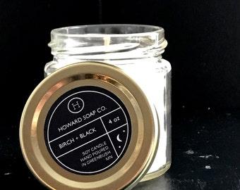 BIRCH + BLACK Candle>> 9 oz/4 oz/masculine /howard soap company/minnesota made