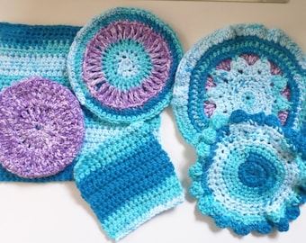 Blue and Purple Heather Washclothes Set of Six Crocheted