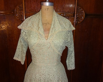 Vintage 1950s Seafoam Green Dream Lace Halter Formal Dress with Matching Bolero Jacket size Small