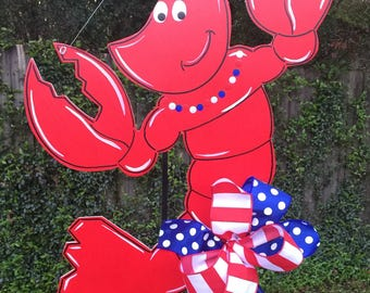 Crawfish Door Hanger, Patriotic Crawfish, Summer Door Hanger, Crawfish Boil, Backyard Parties, Cajun Deco, Crawfish Sign
