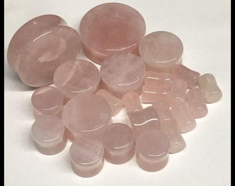 PICK SIZE  Rose Quartz Stone Organic Stone Plugs
