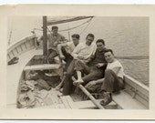 Handsome Men On A Boat Vintage Snapshot Black And White Affection Photo June 1944 Photograph Has Wear