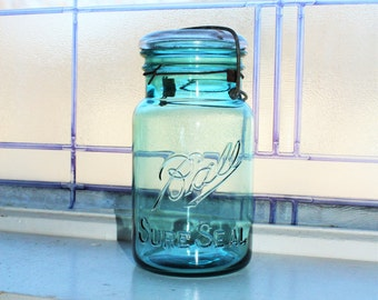 Blue Ball Jar Quart Mason Jar Ball Sure Seal Jar with Glass Lid Antique 1910 to 1923
