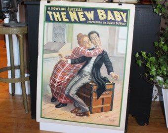 Antique Advertising Poster The New Baby by David DeWolf Circa 1900