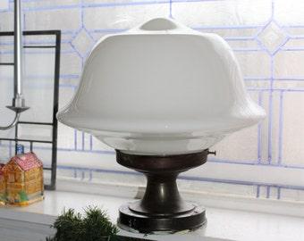 Vintage Schoolhouse Ceiling Light Fixture Large Milk Glass Shade Farmhouse Decor