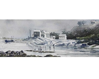 Watercolor ORIGINAL - Oregon Coast - port, tide, boat, lighthouse, pier, sea, ocean