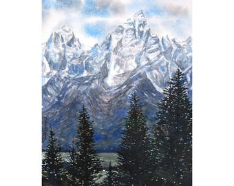 Watercolor ORIGINAL - From Shadow Mountain - Grand Tetons, Teton National Park, Jackson Hole, Wyoming, mountains