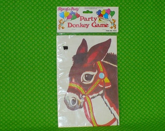 Vintage Pin the Tail on the Donkey Game-Vintage Birthday Party Game-Old Fashion Birthday Party Game-Donkey Party Game-Birthday Party Game