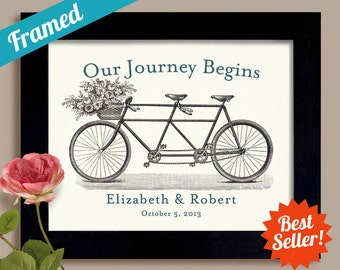 Country Chic Wedding Personalized Wedding Gift for Couples Framed Art Unique Engagement Wedding Decor Bicycle for Two For Couples