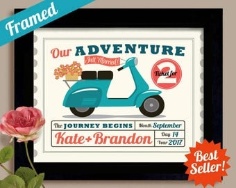 Wedding Ticket Personalized Wedding Gift Vespa Motor Scooter Honeymoon in Europe Anniversary Gift  Our Adventure Newlyweds Gift