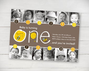 Buzzy Bees Timeline 1st Birthday Invitation - Digital File
