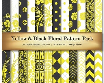 Yellow & Black Floral Digital Scrapbooking Paper Deluxe Bright Color Background Pattern 24 piece Set - Commercial Use OK