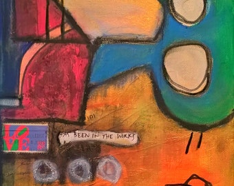 """Love Has Been in the Works, Complete with Spaceship, 8"""" x 8"""", acrylic, stamp, paper, pastel, ink, graphite on canvas, american art, modern"""