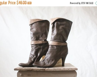 ON SALE c1970's Taupe Leather Slouch Boots Sz 8
