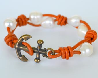 Anchor and Pearl Bracelet, Knotted Orange Leather, Silver or Antiqued Brass Anchor, Freshwater Pearls, Nautical, Cruisewear, Gift Boxed
