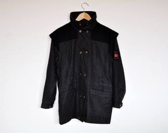 Vintage Danish Charcoal Wool Double Breasted Unisex Jacket