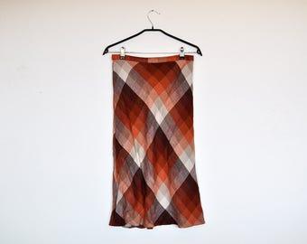 Vintage 70s Fall Colors Wool Plaid High Waisted A Line Flared Tartan Skirt