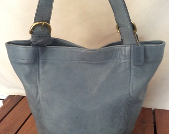 Distressed Large Vintage Genuine Coach Blue Leather Bucket Shoulder Bag Made in the United States