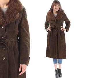 SHEARLING Coat Women 1970s Brown Suede Leather Sheepskin CURLY PERSIAN Fur Collar Winter Overcoat Outerwear Long Belt Jacket Small to Medium