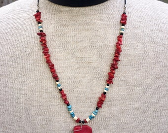 Red Coral and Turquoise Pendant Necklace