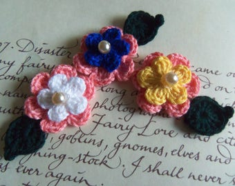 Assorted Crochet Flowers and Leafs Appliques. Set of Three Crochet Flowers and Leafs. Crochet Appliques. Small Pink Crochet Flowers.