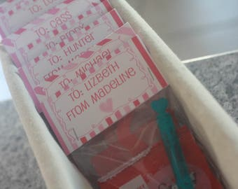12 - Personalized Valentine Pink Red & White Heart Treat Favor Bag Toppers for Class Parties Etc. INCLUDES Cello Bag - Free Ship Over 65.00