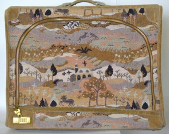 French Company Suitcase - Vintage 70s Gorgeous High End Tapestry Luggage