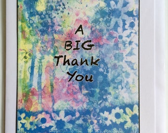 A Big Thank You  - A5 Blank Greetings Card From Original Mixed Media Painting