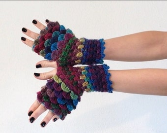 Dragon Scale Fingerless Gloves - jewel tones, multicolored, wrist hand arm warmers women crochet game of thrones khaleesi - MADE TO ORDER