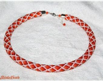 Orange ombre style rhombs seed bead necklace elegant accessory handmade geometric pattern