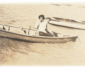 Rough Waters Ahead Love in a Rowboat Lake Life snapshot old photo found photograph vernacular social realism